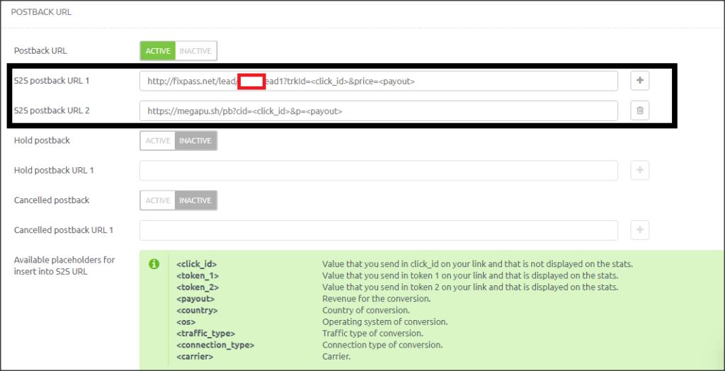 iMonetizeIt postback settings for trending bid and megapush