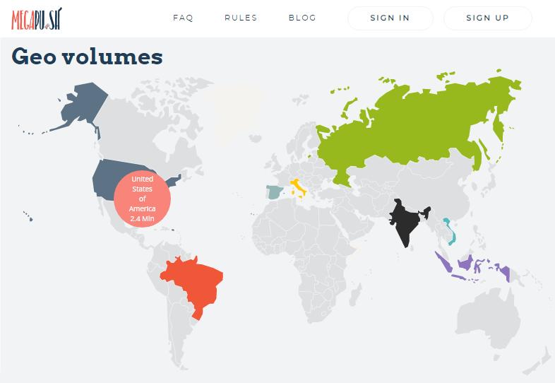 Geo volumes of push ads in MegapuSh